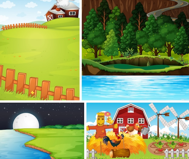 Set of different farm scenes cartoon style