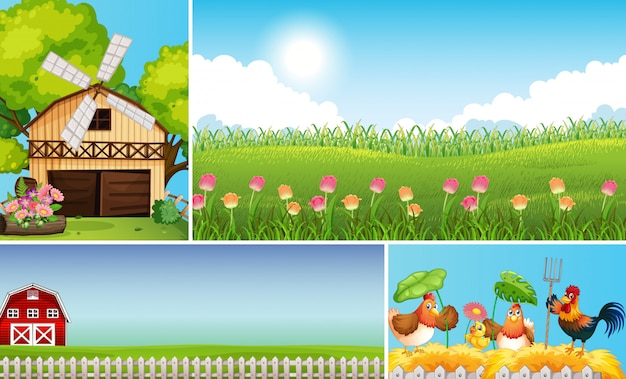 Set of different farm scenes with animal farm cartoon style