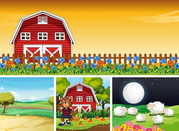 Set of different farm scenes with animal farm cartoon style