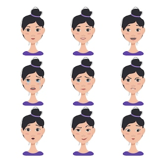 Set of different female expressions