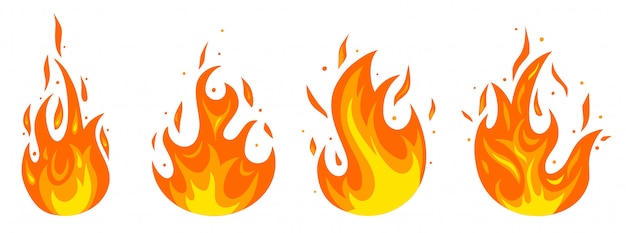 Set of different fires in cartoon style