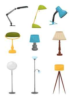 Set of different floor and desk lamps. home decor elements. lighting devices. decorative interior objects