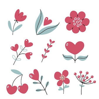 Set of different flowers and hearts  hand drawn illustration