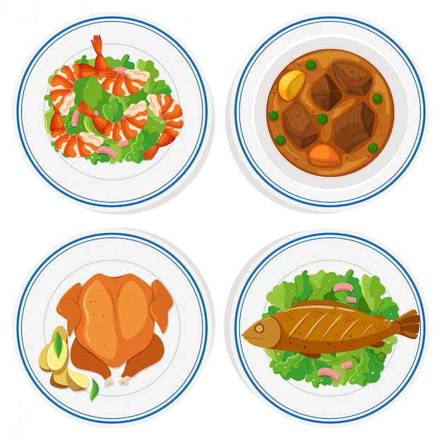 Set of different food on round plates