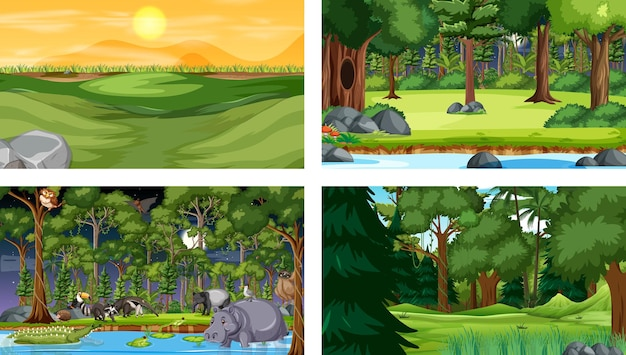 Set of different forest horizontal scene with various wild animals