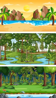 Set of different forest horizontal scenes in different seasons
