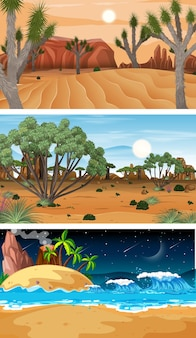 Set of different forest horizontal scenes