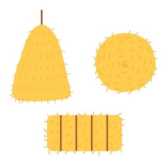 Установите разные формы стога сена. желтое сено вектор рука рисовать клипарт