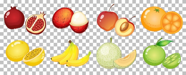 Set di frutta diversa isolata