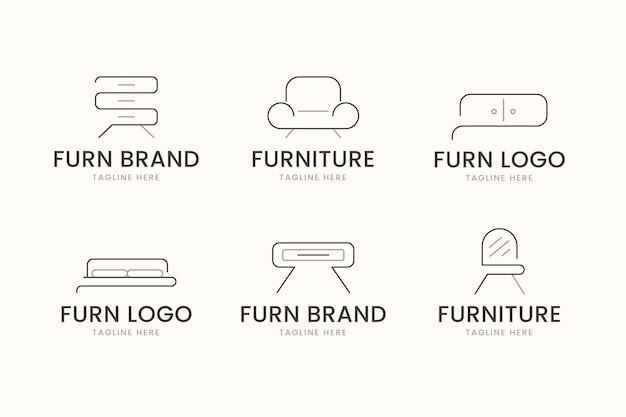 Set of different furniture logos