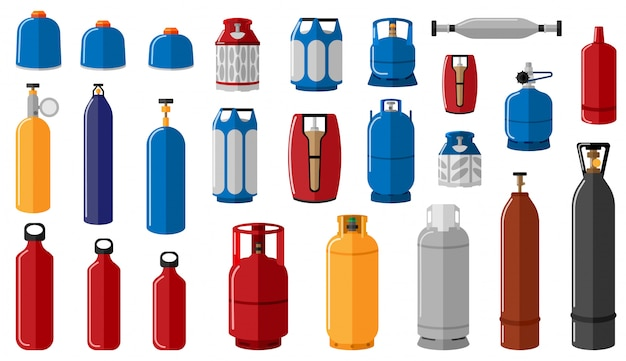 Set different gas cylinder on white background. equipment for safe shipping gas
