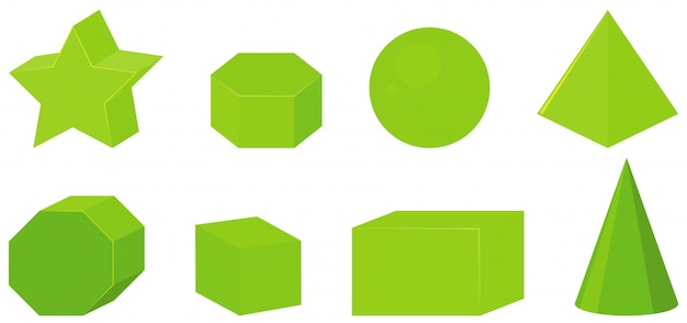 Set of different geometric shapes in green