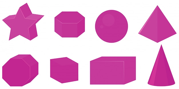 Set of different geometric shapes in pink