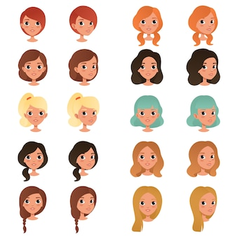 Set of different girl s hair styles and colors black, blue, blonde, red, brown