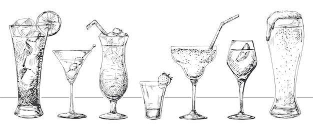 Set of different glasses, different cocktails.  illustration of a sketch style.