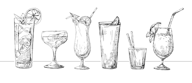 Set of different glasses, different cocktails.