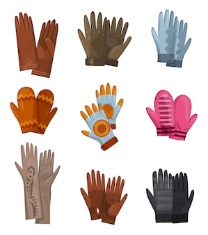 Set of different gloves and knitted mittens as handwear in winter or autumn season