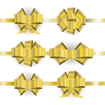 Set different  golden bow isolated on white background.