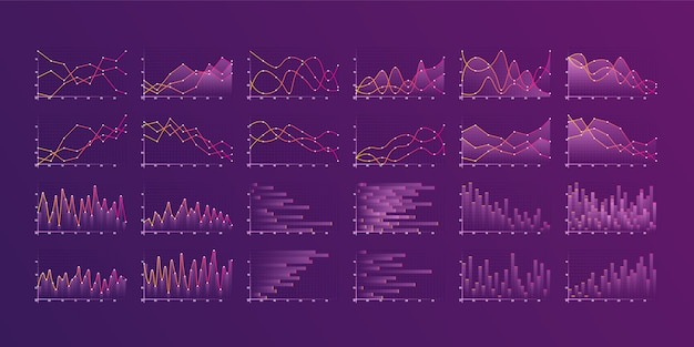 Set of different graphs and charts. infographics and diagnostics, charts and schemes.