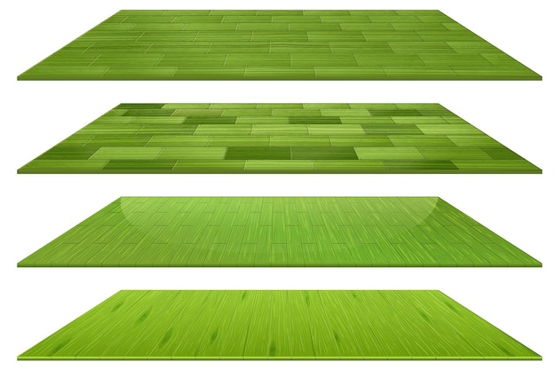 Set of different green wooden floor tiles isolated on white background