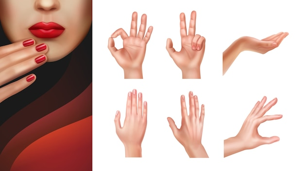 Set of different hands with showing gestures and manicured nails