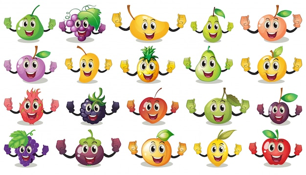 Set of different happy fruits