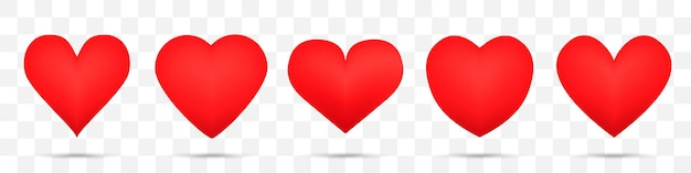 Set of different heart icons. vector illustration