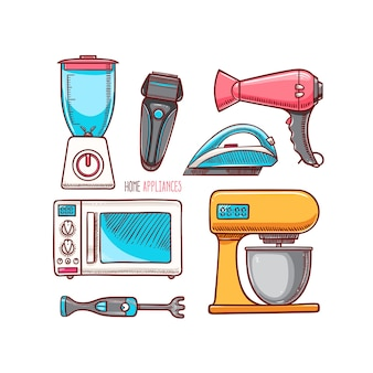 Set of different home appliances.