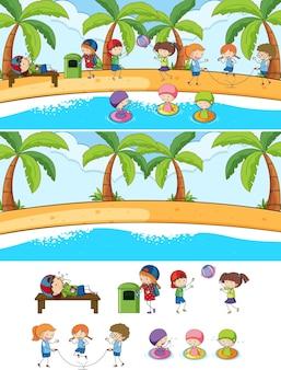 Set di diverse scene di spiaggia orizzontale con personaggio dei cartoni animati per bambini scarabocchiati
