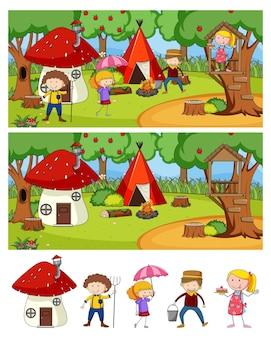 Set di diverse scene di campeggio orizzontale con personaggio dei cartoni animati di doodle kids