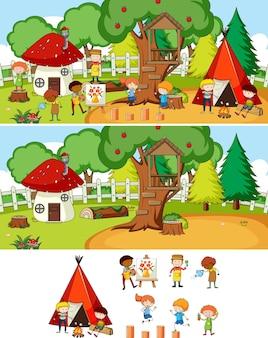 Set di diverse scene di campeggio orizzontale con personaggio dei cartoni animati per bambini scarabocchiati