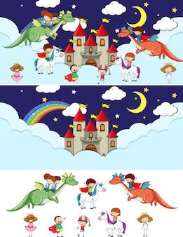 Set di diverse scene di cielo fatato orizzontale con personaggio dei cartoni animati per bambini scarabocchiati