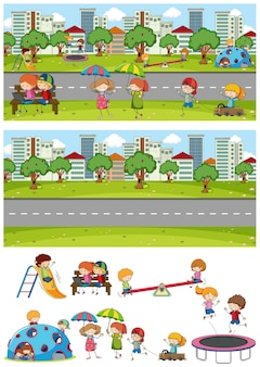 Set of different horizontal park scenes with doodle kids cartoon character