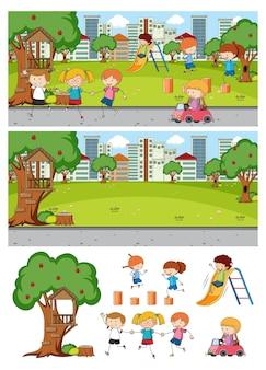 Set di diverse scene di parco orizzontale con personaggio dei cartoni animati per bambini scarabocchiati