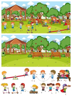 Set of different horizontal playground scenes with doodle kids cartoon character