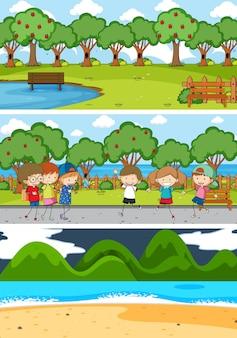 Set di sfondo di diverse scene orizzontali con personaggio dei cartoni animati di doodle kids