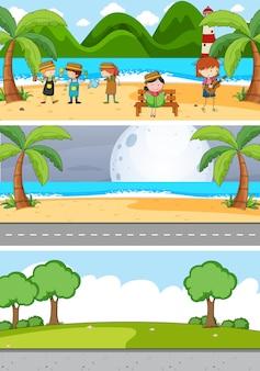 Set di sfondo di diverse scene orizzontali con personaggio dei cartoni animati per bambini scarabocchiati Vettore gratuito