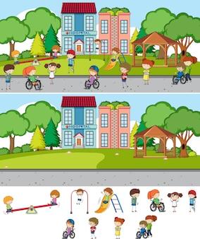 Set di sfondo di diverse scene orizzontali con personaggio dei cartoni animati per bambini scarabocchiati