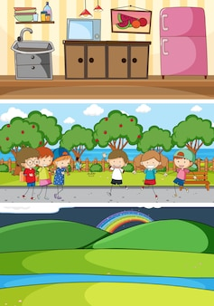 Set of different horizontal scenes background with doodle kids cartoon character