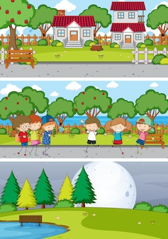 Set of different horizontal scenes with doodle kids cartoon character