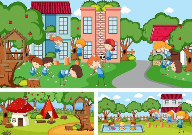 Set di diverse scene orizzontali con personaggio dei cartoni animati per bambini scarabocchiati