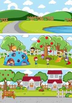 Set di diverse scene orizzontali con personaggio dei cartoni animati di doodle kids kids