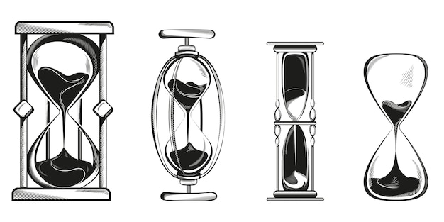Set of different hourglasses isolated on white
