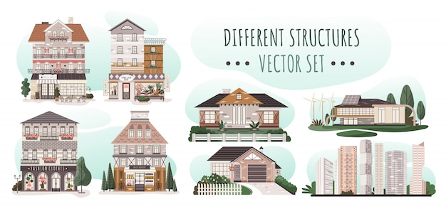 Set of different houses, modern residential architecture, illustration