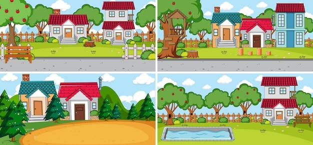 Set di diverse case in stile cartone animato scene di natura