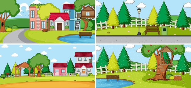 Insieme di diverse case in stile cartone animato scene della natura