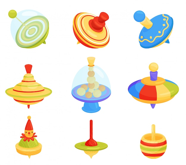 Set of different humming top icons. children whirligig toys. kids development game