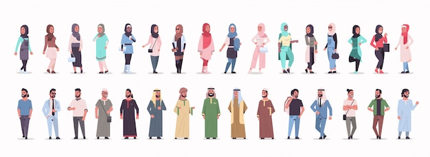 Set different ic businessmen standing pose arab men wearing traditional clothes arabian male cartoon characters collection full length flat white background horizontal