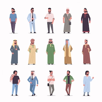 Set different ic businessmen standing pose arab men wearing traditional clothes arabian male cartoon characters collection full length flat white background