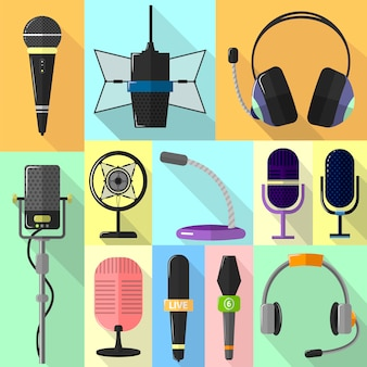 Set of different icons with microphones.